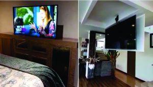 Elevador para TV en mueble y oculto en techo
